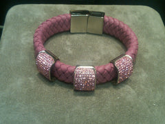 Leather Braided Swarovski Crystal Bracelet with Magnetic Locking Clasp