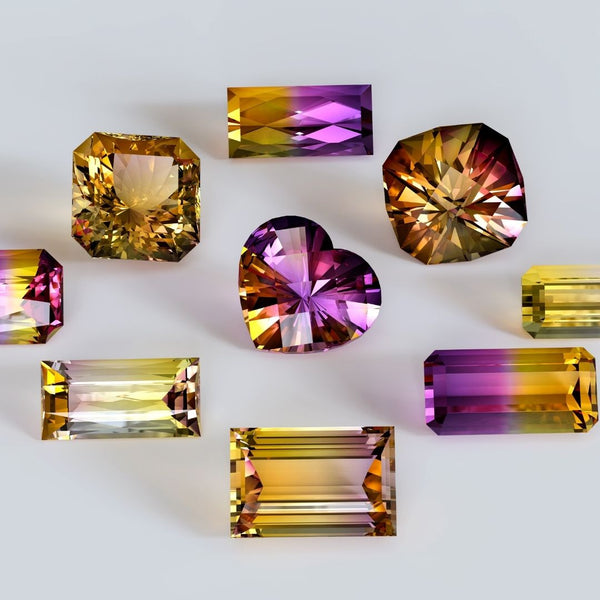 Ametrine crystal faceted for jewelry