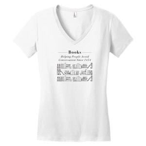 Books: Helping People Avoid Conversation V-neck T-Shirt