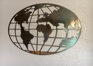 Rustic World Globe Metal Decor, Office Decor, World Traveler, Grid Globe, Father's Day Gift, Birthday Gift Idea, Copper Patina Metalart