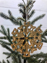 Load image into Gallery viewer, Snowflake Ornament, Wooden Christmas Ornaments, Winter Wonderland Decor, Holiday Decor, Gifts under 10, Wooden Snowflakes, Stocking Stuffers