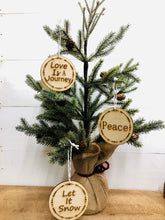 Load image into Gallery viewer, I Love You To The Moon And Back Wooden Ornament, Christmas Ornaments,  Love You Accents, Small Gifts Easy to Mail, Small Wooden Accent Decor