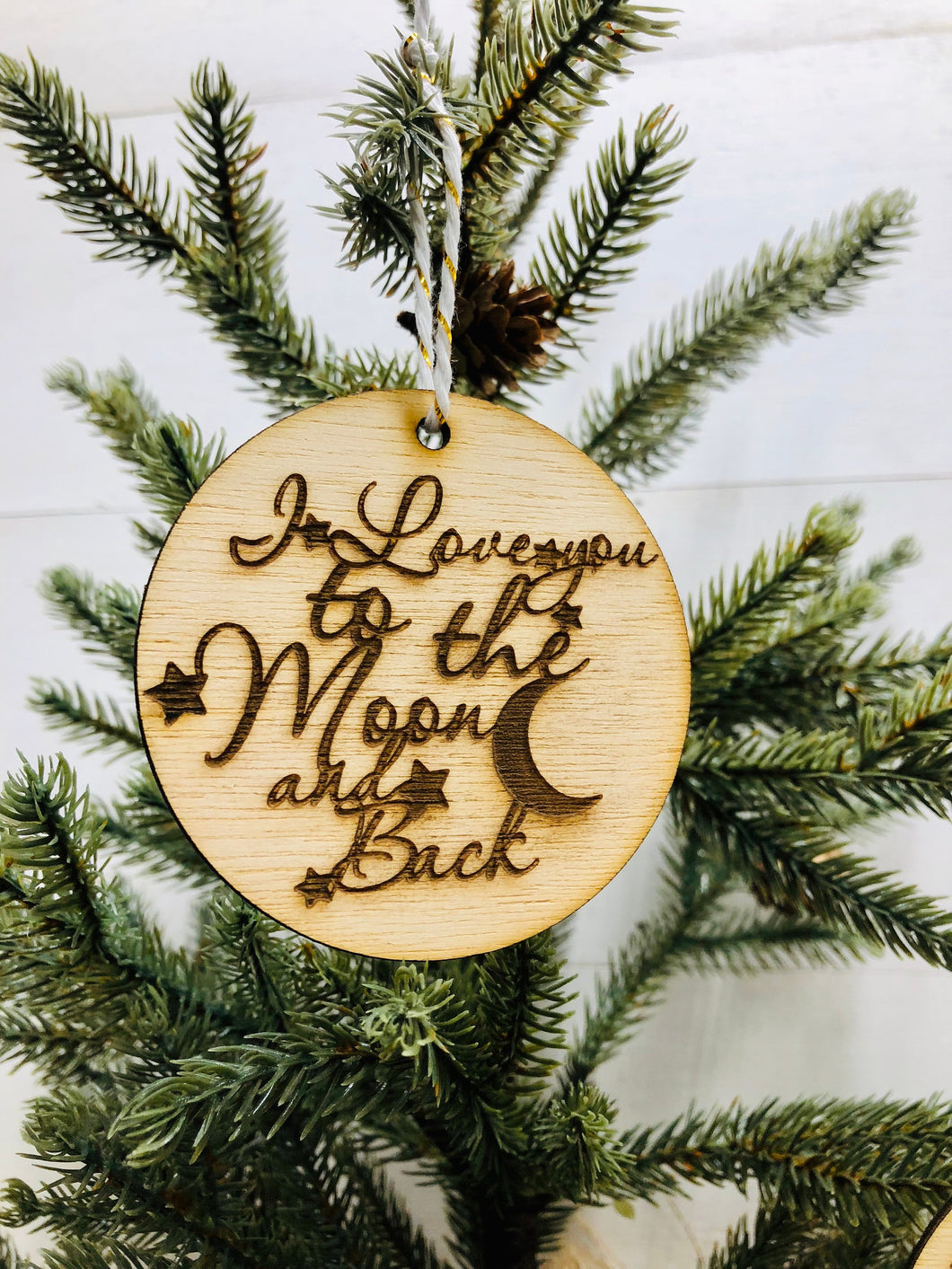 I Love You To The Moon And Back Wooden Ornament, Christmas Ornaments,  Love You Accents, Small Gifts Easy to Mail, Small Wooden Accent Decor