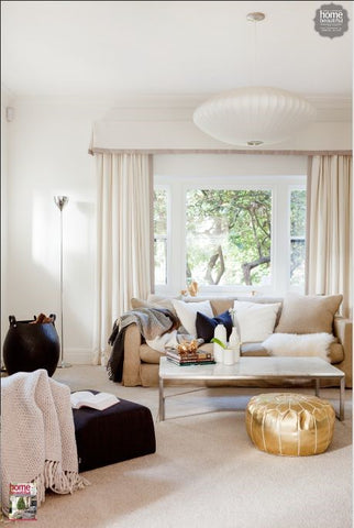 The Golden Room BeldiNest Fascinating White And Gold Pouf