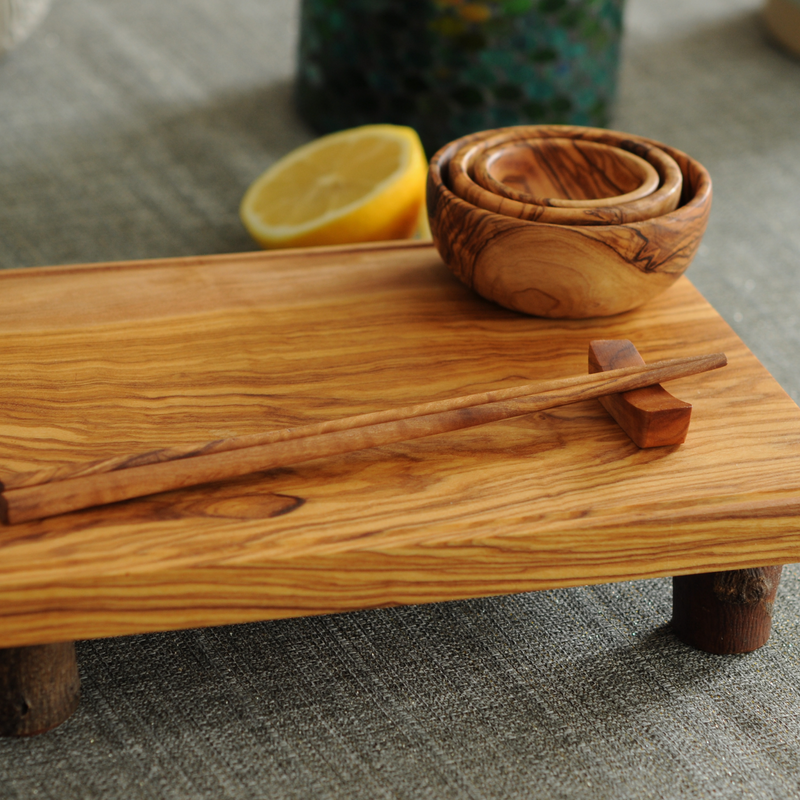 BeldiNest Olive Wood Sushi Tray Set | Sushi Serving Board