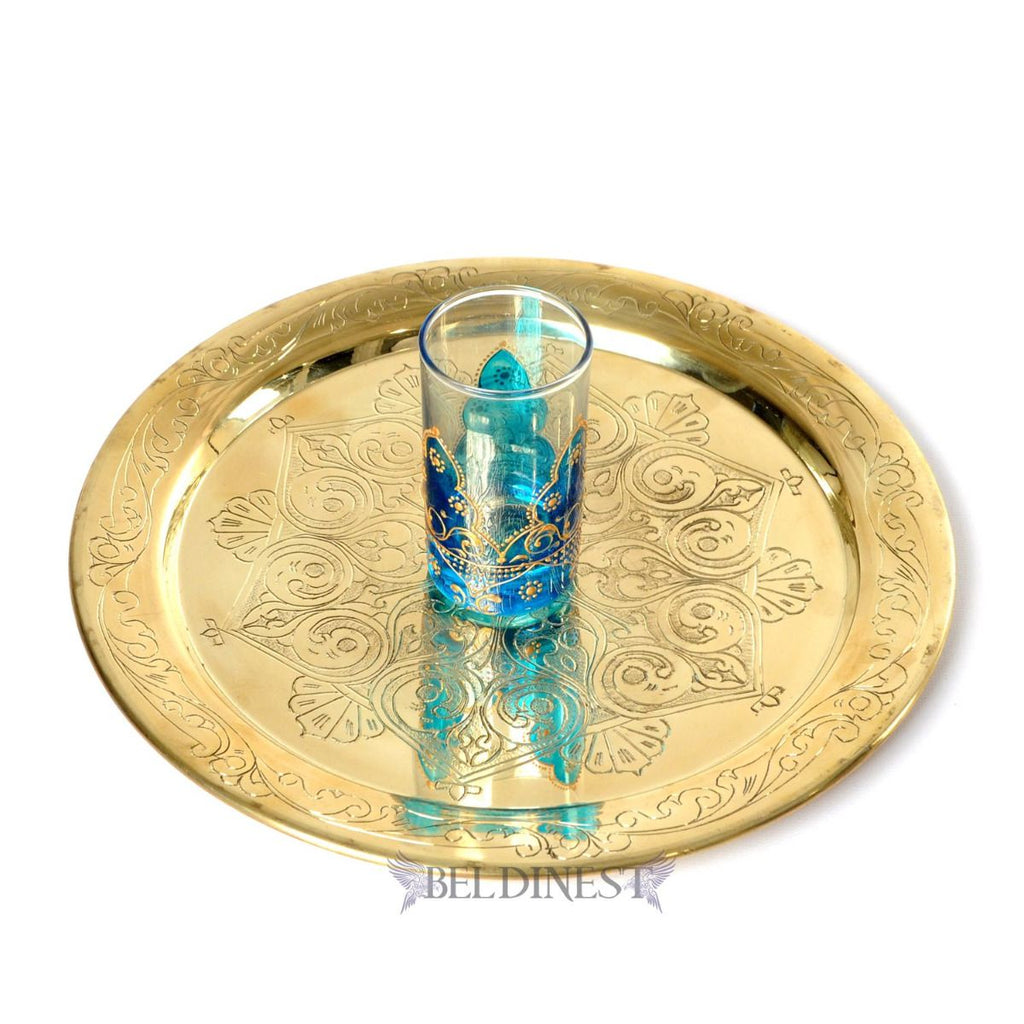 "12"" Moroccan Gold Brass Tray"