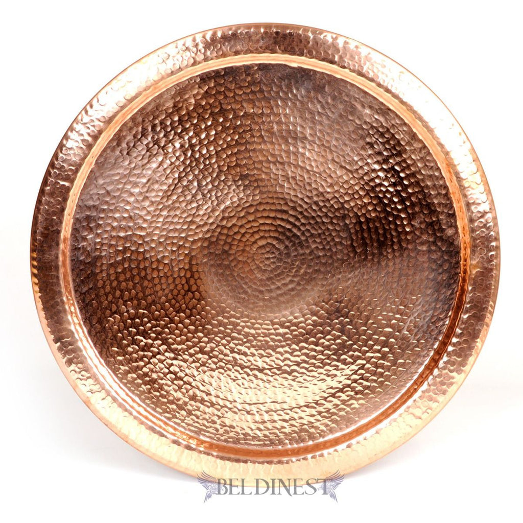 "19"" Moroccan Hand Hammered Copper Tray"