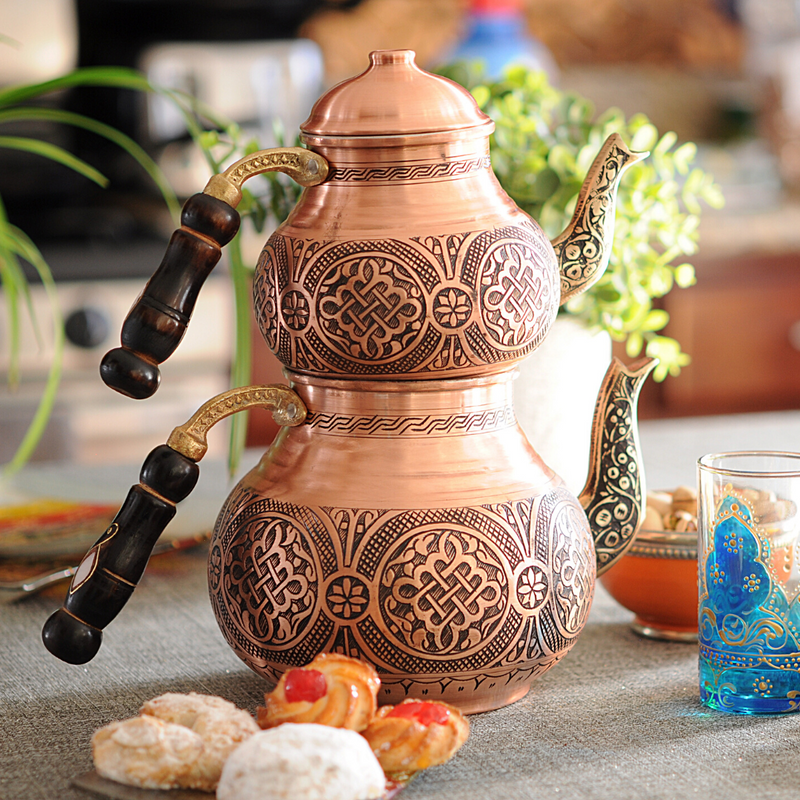 Round Copper Engraved Turkish Teapot