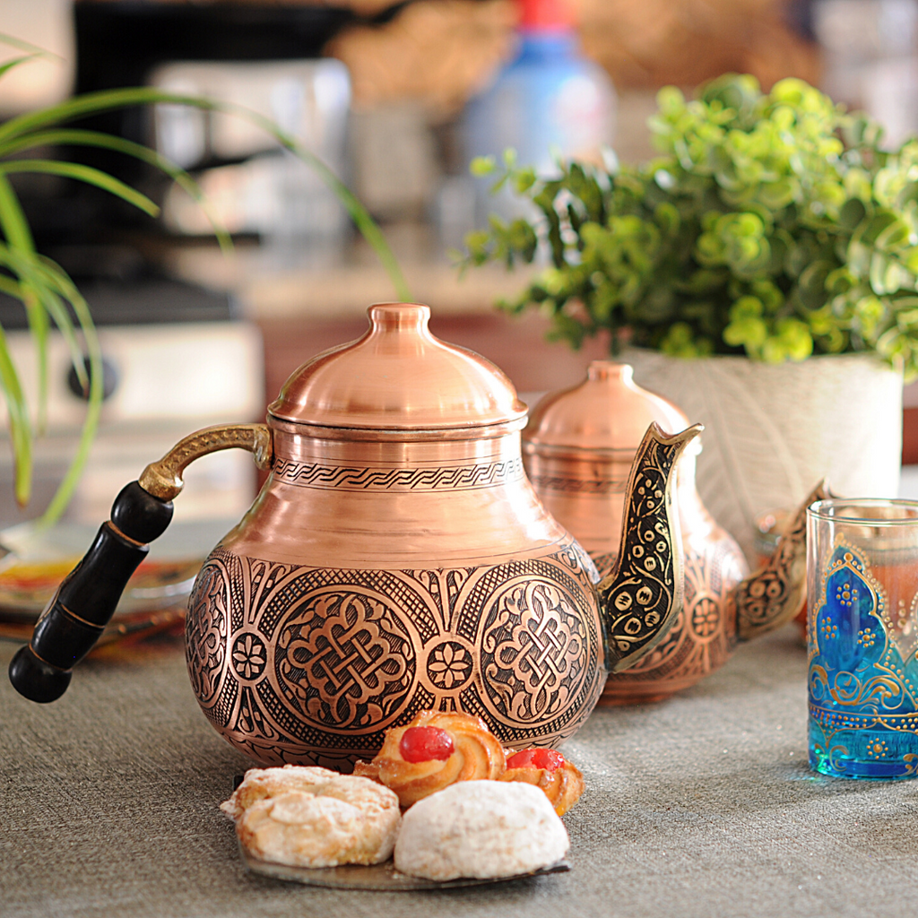 Handmade Turkish Double Boiler Copper Teapot