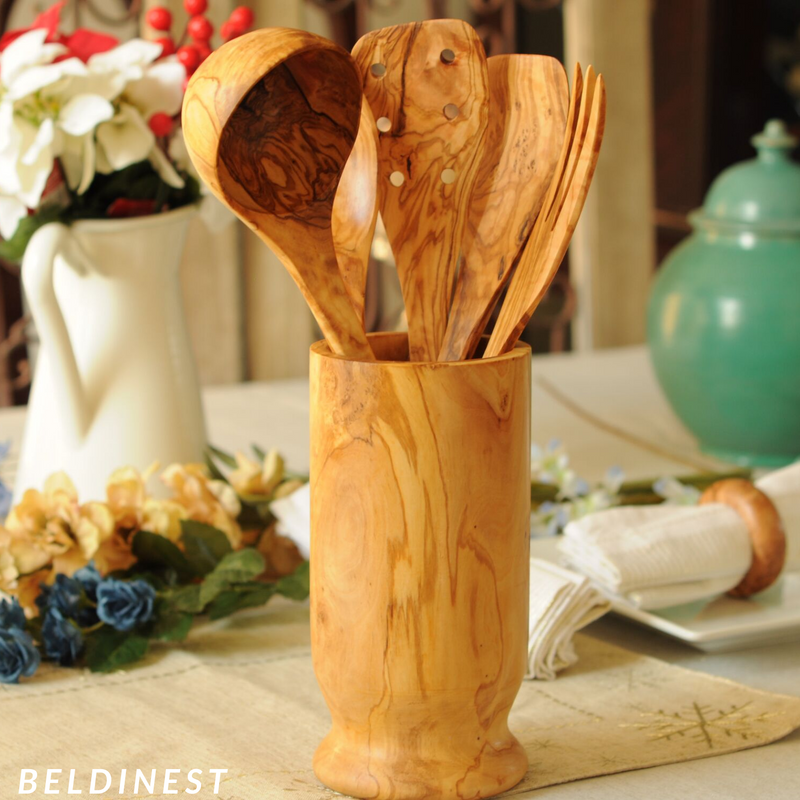 Wooden Utensil Set of 5 With Utensil Holder-Including Ladle