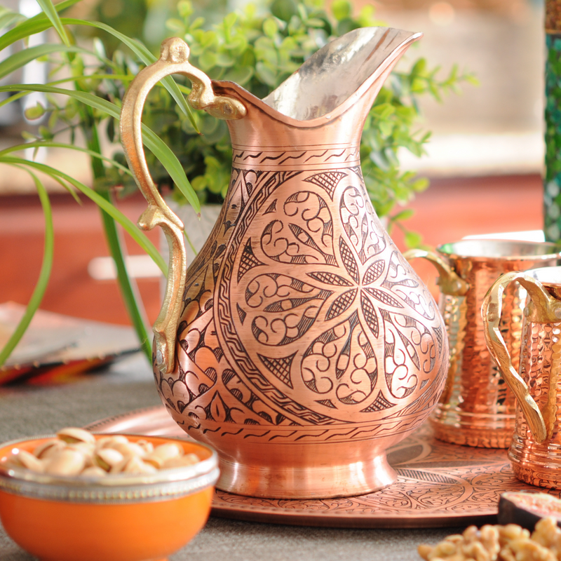 Hand Chiseled Arabesque Copper Pitcher