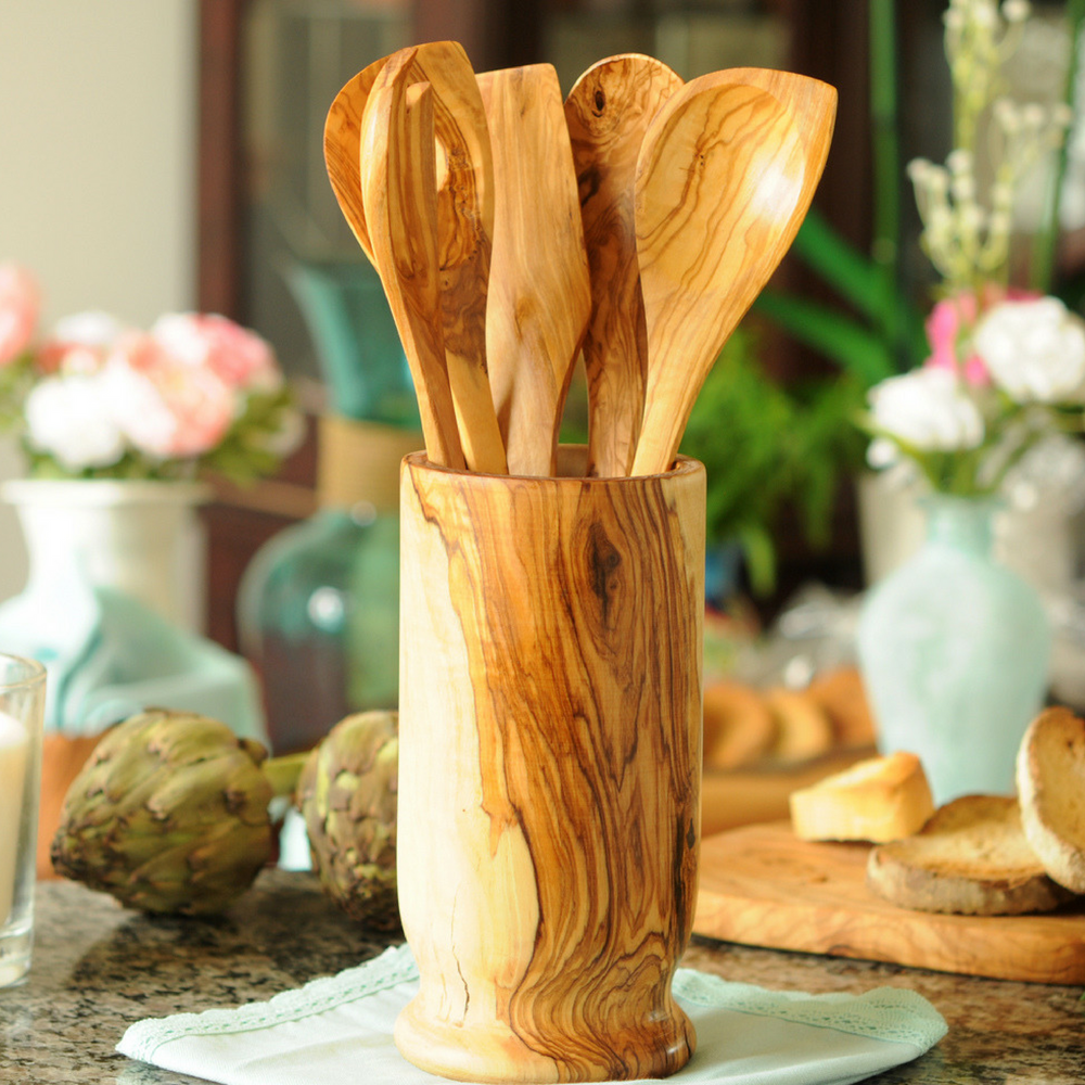 Wooden Utensil Set of 5 With Utensil Holder-Made from Olive Wood