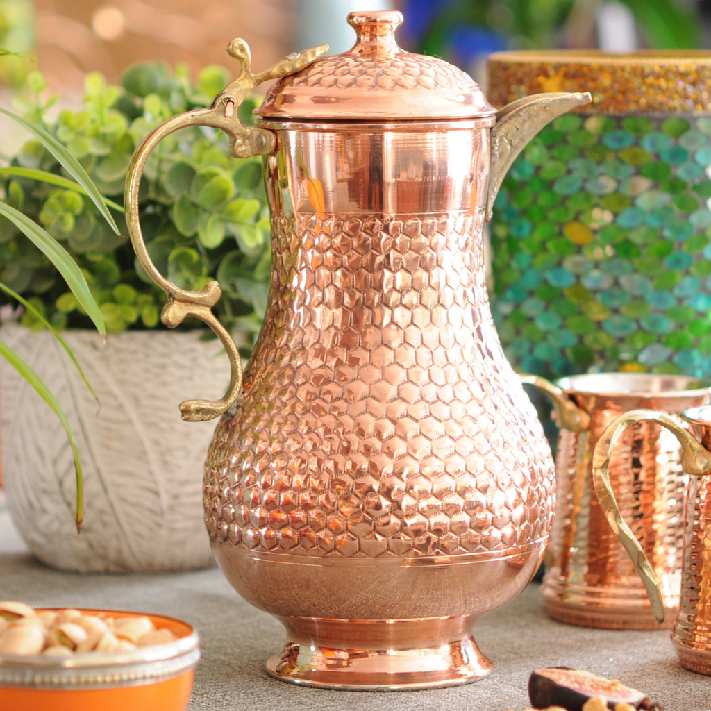 Hand Chiseled Round Copper Pitcher