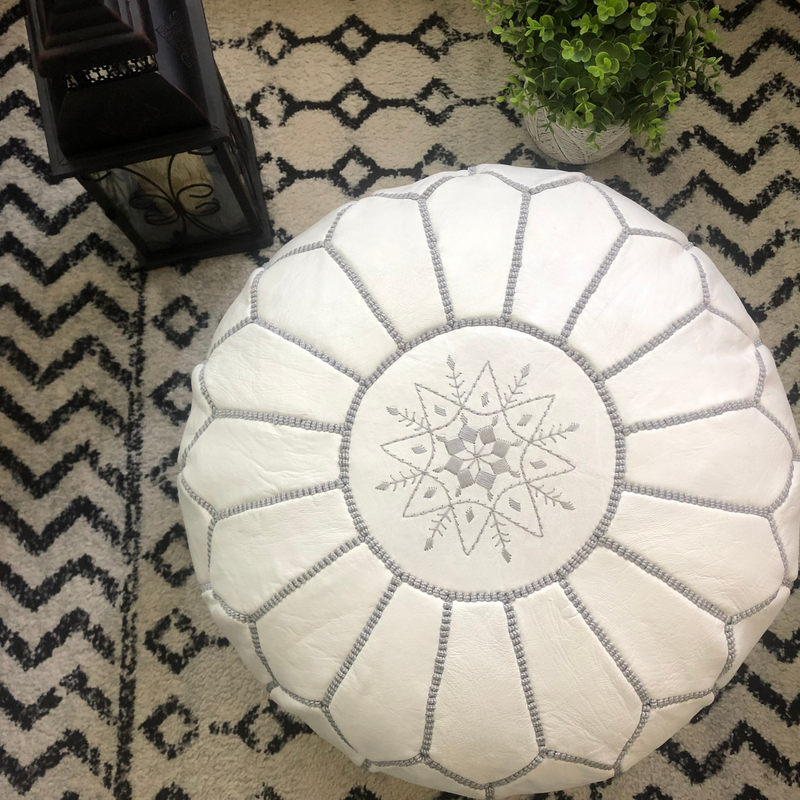 Embroidered Leather Pouf- White with Grey Stitching