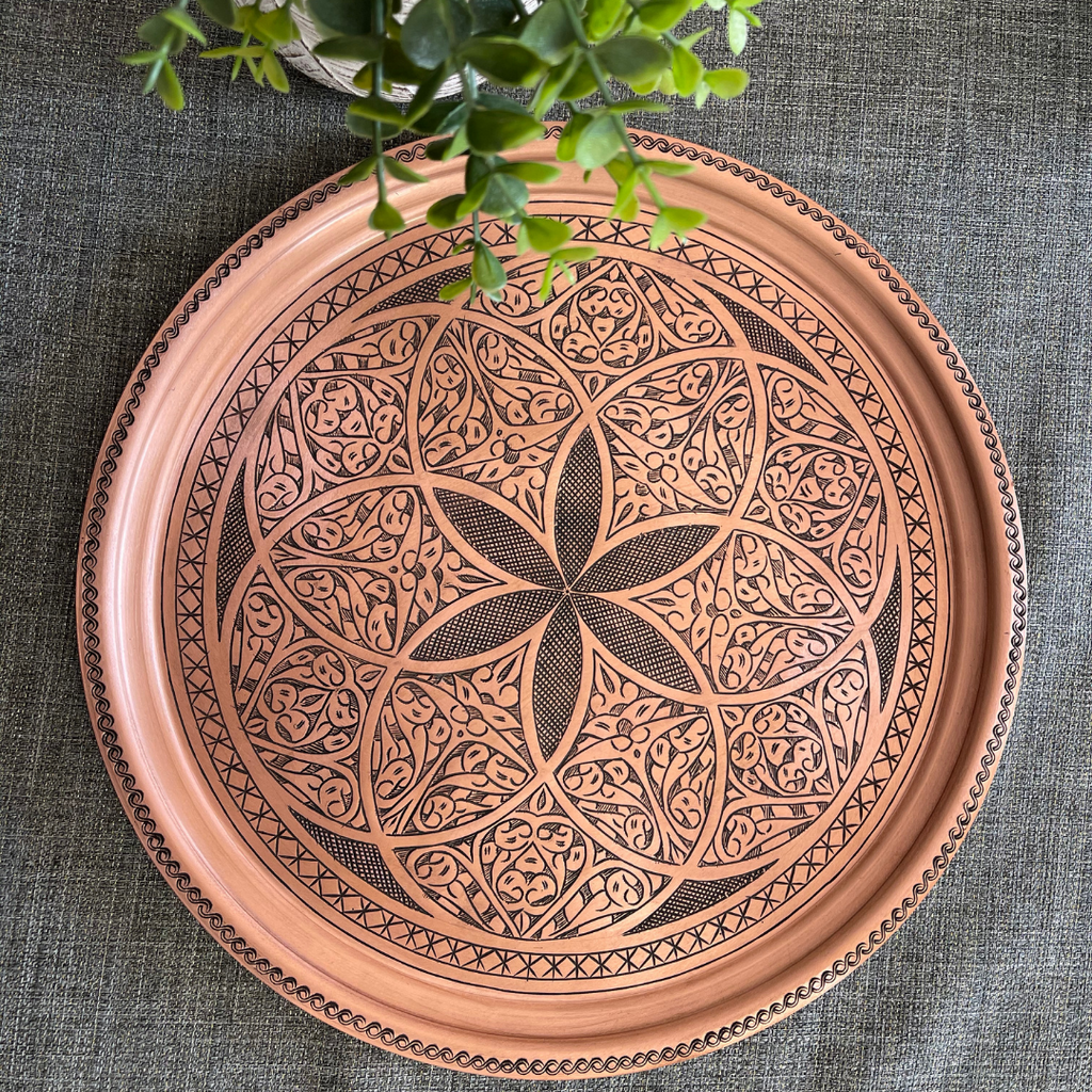 "14"" Hand Chiseled Copper Tray"