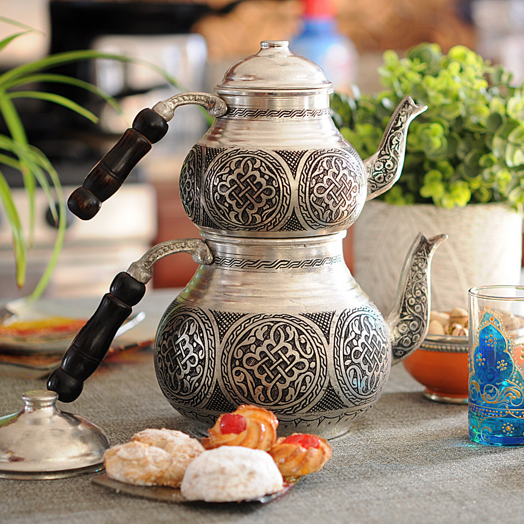 Handmade Turkish Double Boiler Tin Plated Copper Teapot