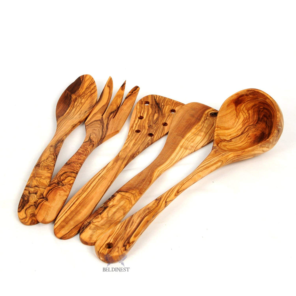 Set of 5 Wooden Kitchen Utensils[Spoon & Fork - Set of 2 Spatulats-Ladle]