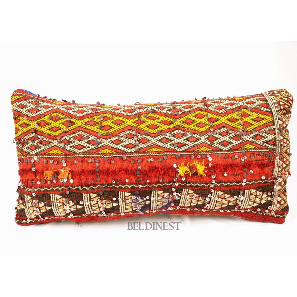 Moroccan Kilim Pillow Red Berber White/Blue Striped in the Back