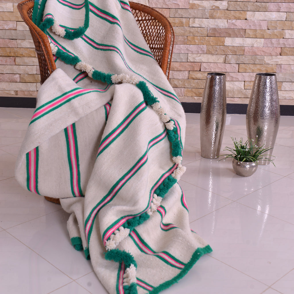Berber Wool Blanket White With Pink and Green Stripes