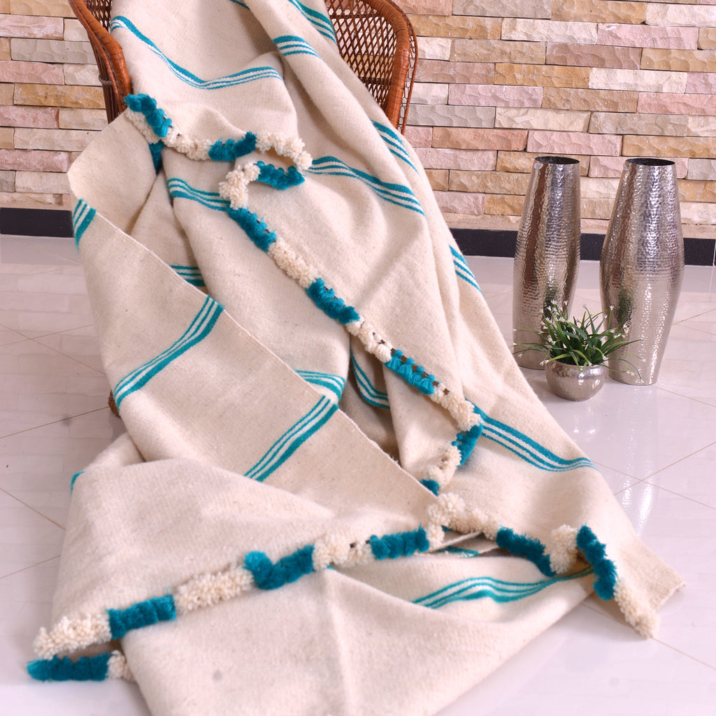 Wool Blanket White with Aqua Green Stripes