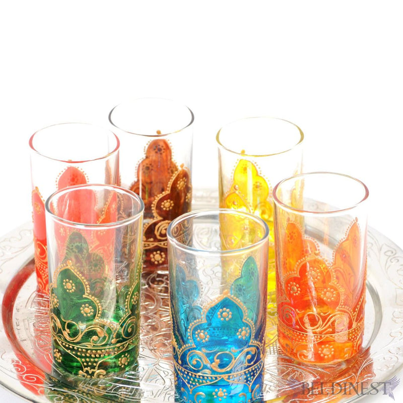 Hand Painted Tea Glasses Set- Beautiful Arabesque 6 Glass Teacups