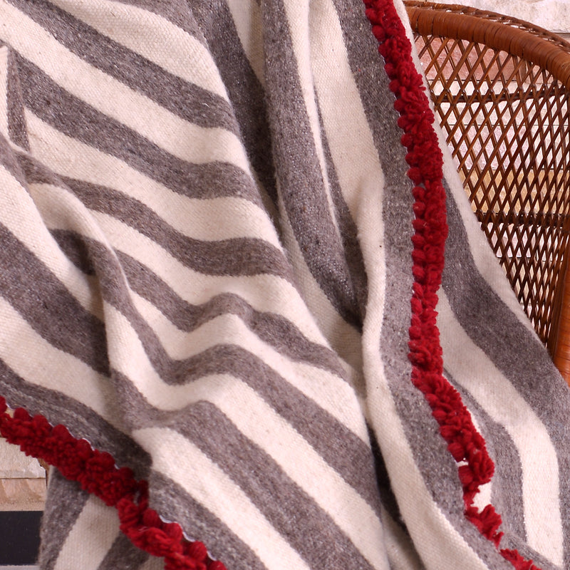 Wool Blanket white with Griege stripe and Chili Red