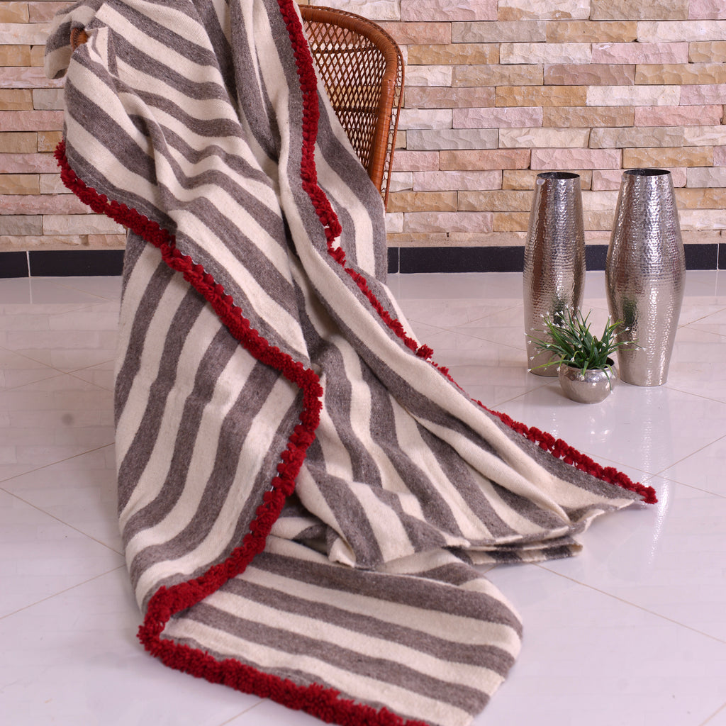 Wool Blanket white with Greige stripe and Chili Red