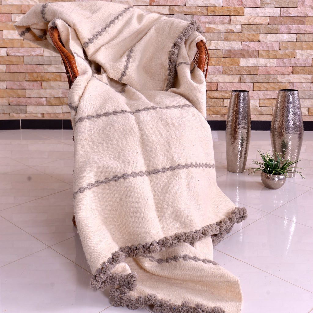 Wool Blanket White With Greige Stripes