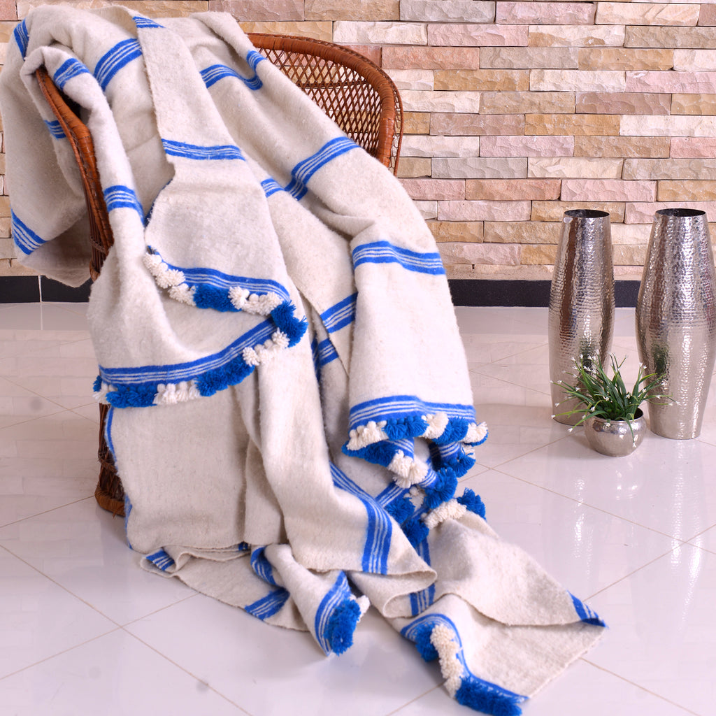 Hand-woven Wool Pom Pom Blankets White with Blue Azure Stripes