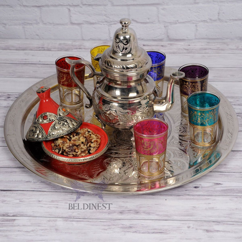 "19"" Moroccan Silver Plated Brass Tray"