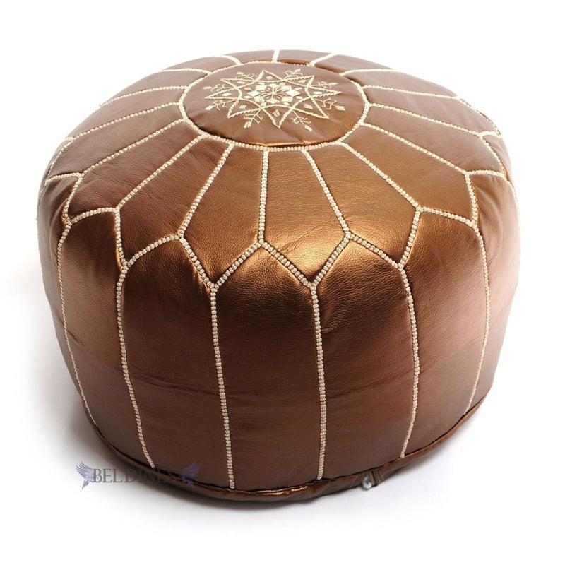 Embroidered Ski Leather Pouf- Bronze
