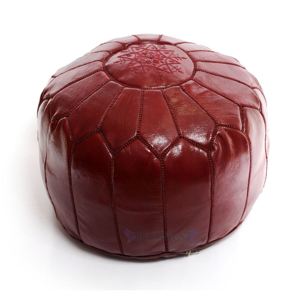 Embroidered Leather Pouf- Burgundy