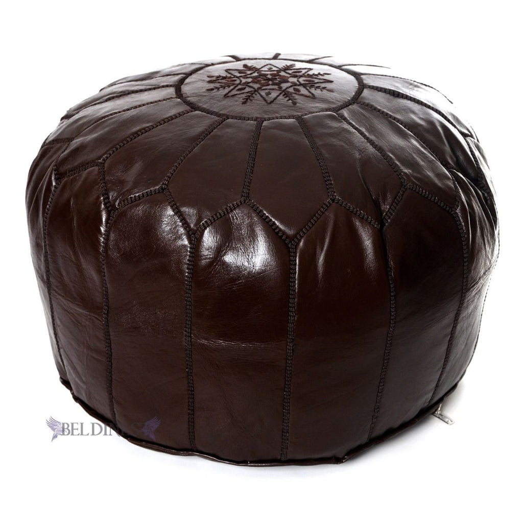 Embroidered Leather Pouf- Brown