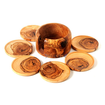 Wooden Coaster Set- Olive Wood Holder and 6 Coasters
