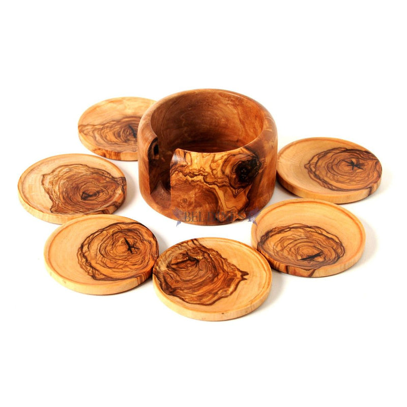 Wooden Coaster Set- Olive Wood Rustic Holder and 8 Coasters