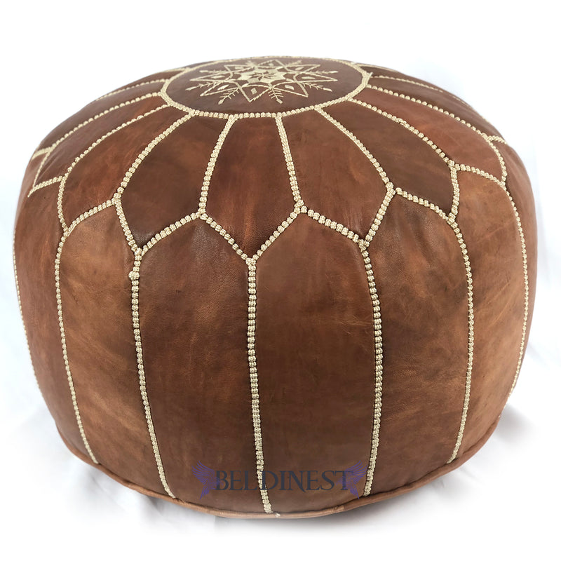 Embroidered Leather Pouf- Black with White Stitching