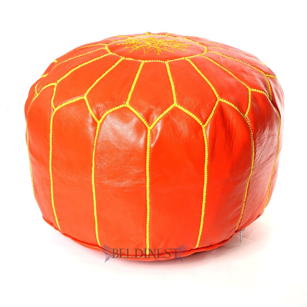 Embroidered Leather Pouf- Orange with Yellow Stitching