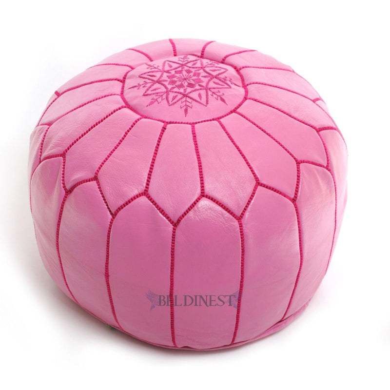 Embroidered Leather Pouf- Fuchsia