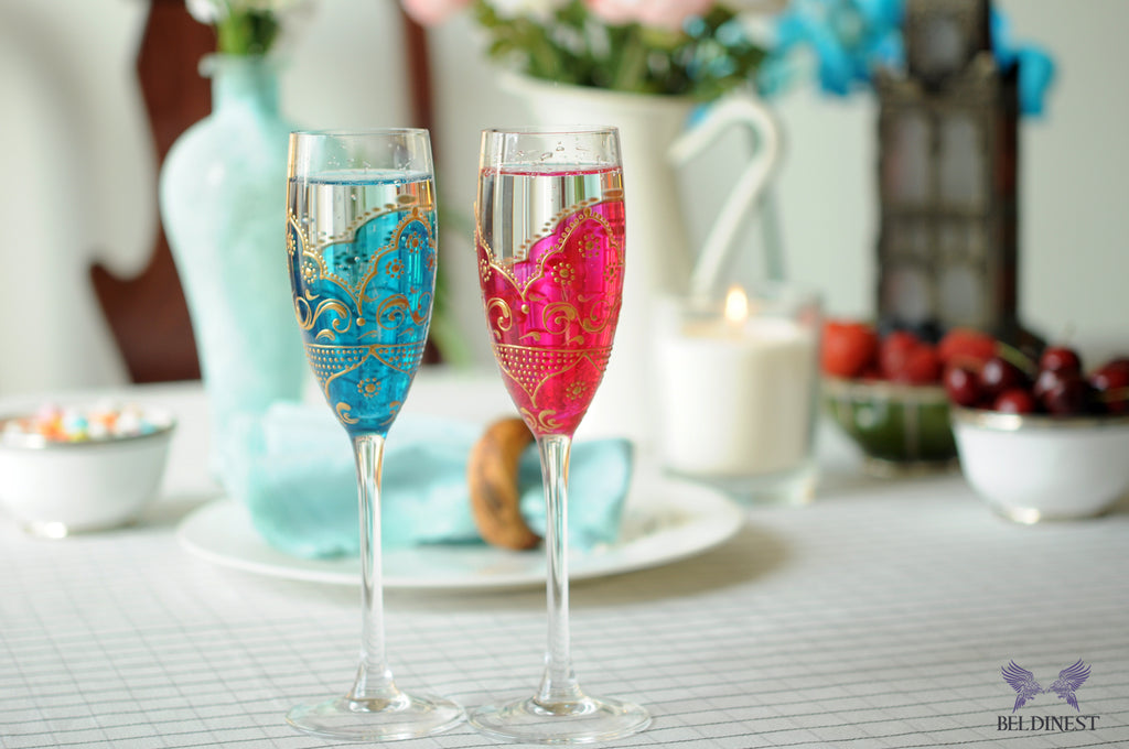 Hand Painted Glass Wedding Goblets - Set of 2