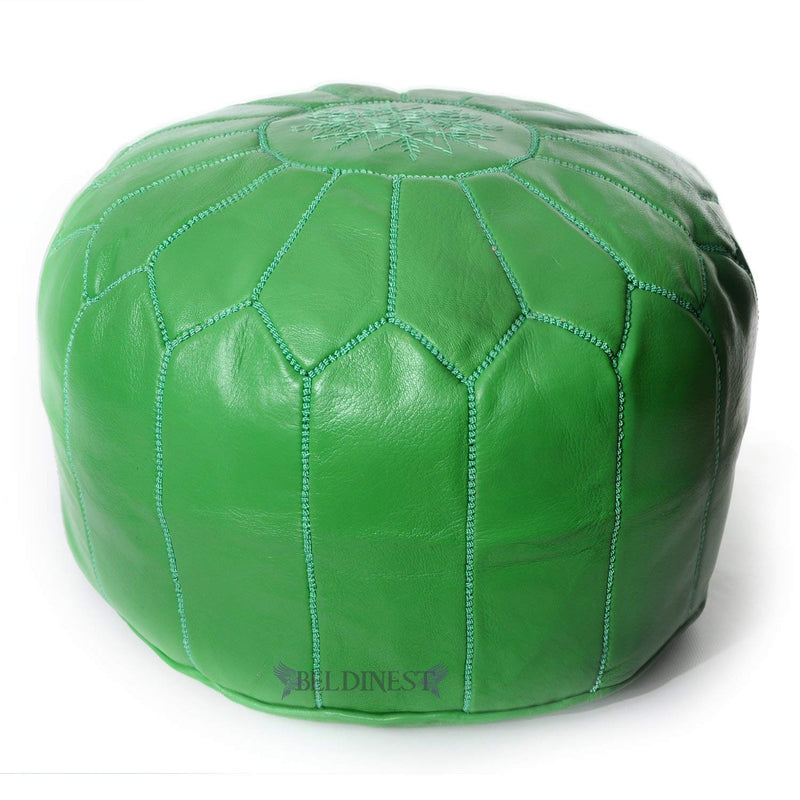 Embroidered Leather Pouf- Green