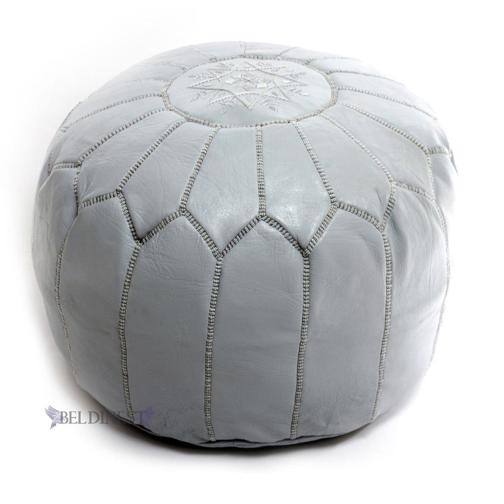 Embroidered Leather Pouf- Grey