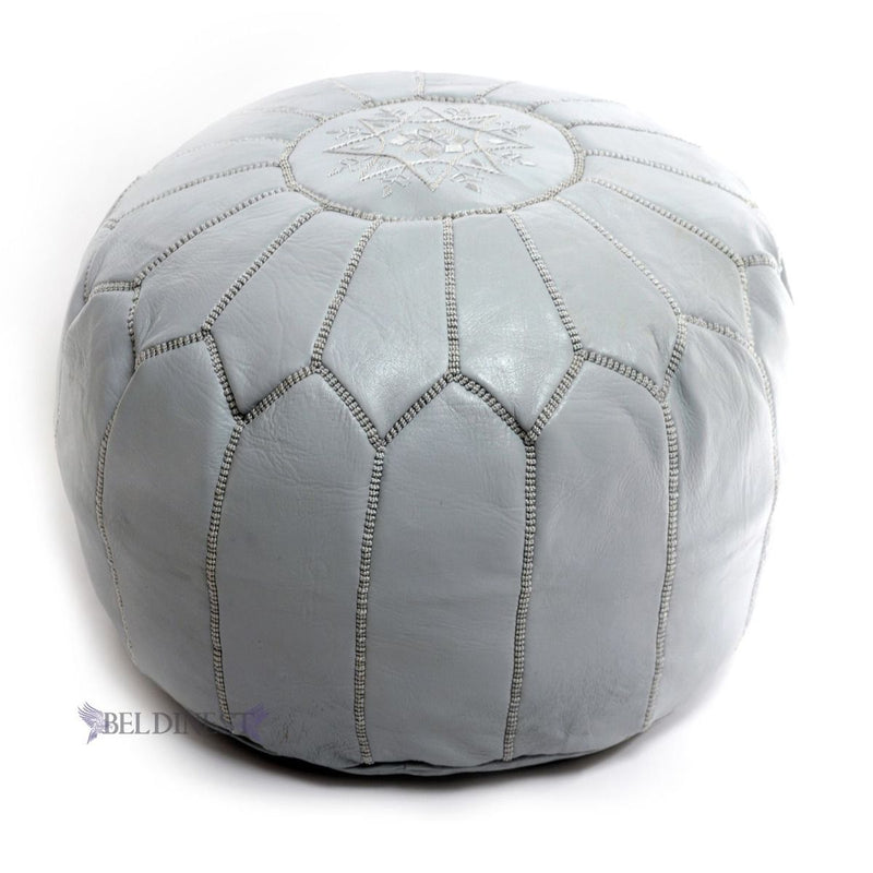 Embroidered Leather Pouf- Tan