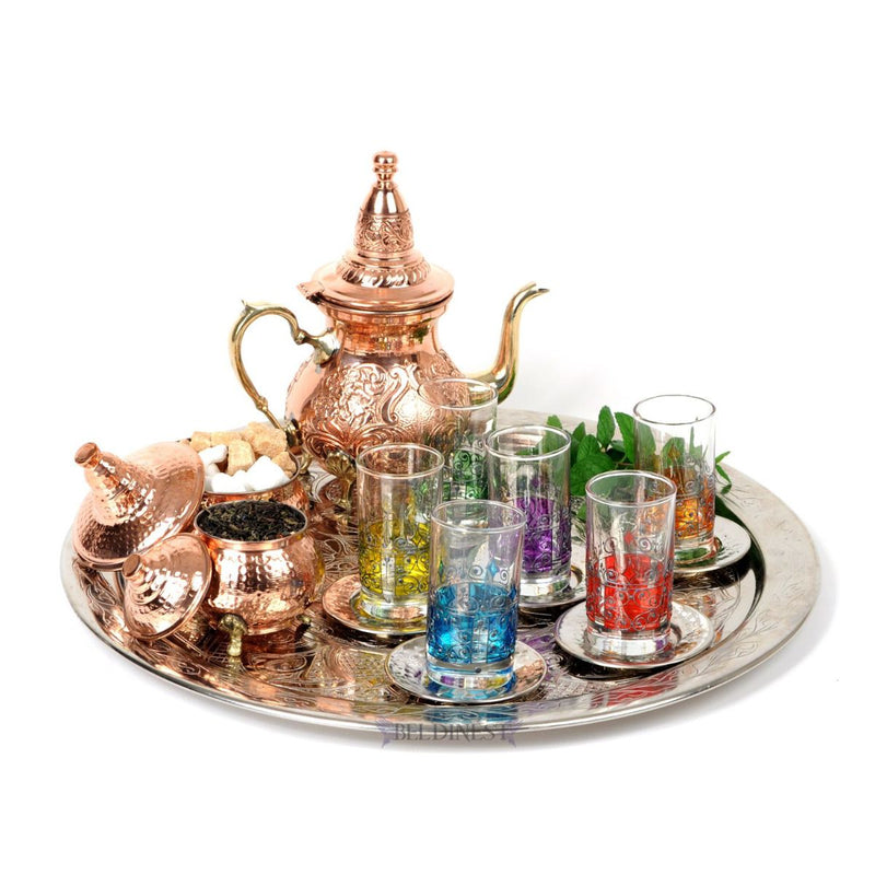 Moroccan Copper Tea Set on a Brass Tray