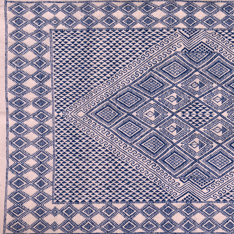 Moroccan kilim Rug  Off-White & Blue hand Knotted Wool Carpet