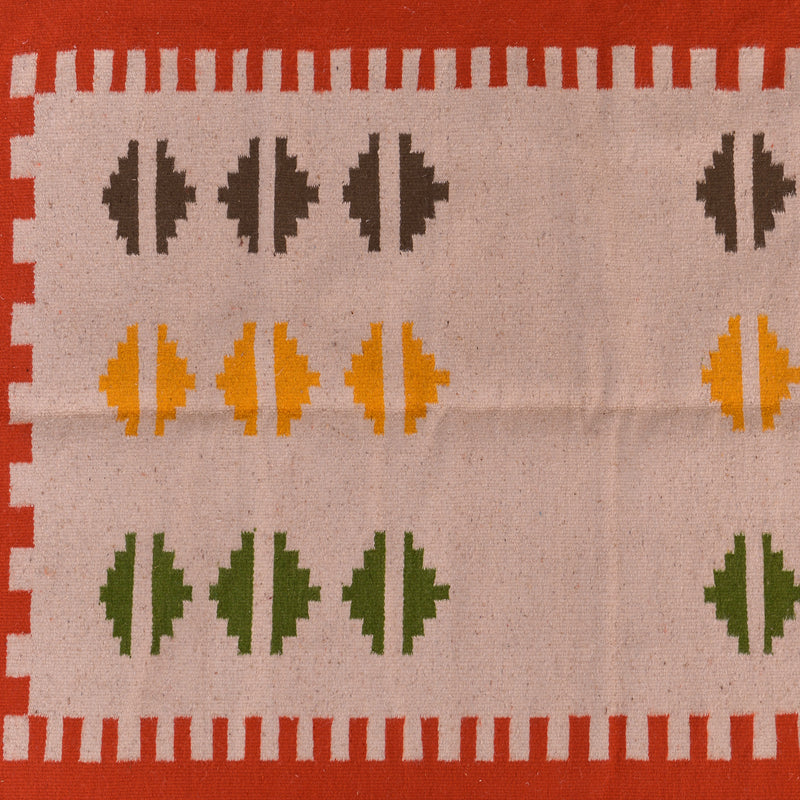 Moroccan Wool Kilim Rug - Orange Border