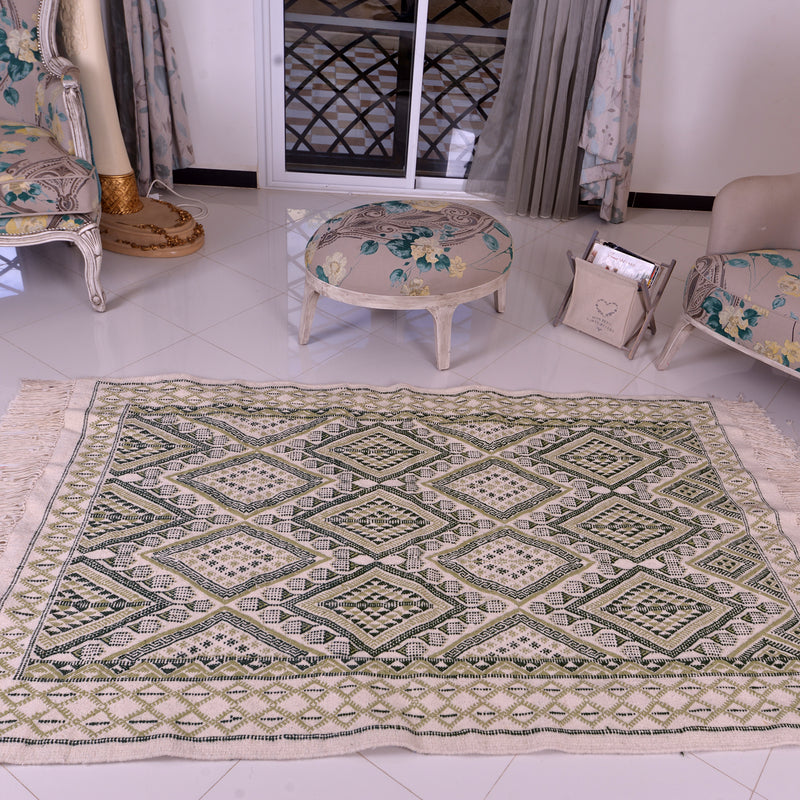 Moroccan Rug Dark Green & Pistachio Wool Hand knotted Carpet