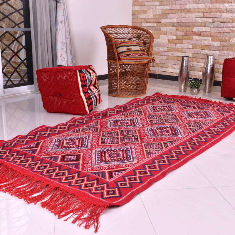 Moroccan Kilim Rug Chili Red Diamond Hand Knotted Wool Rug