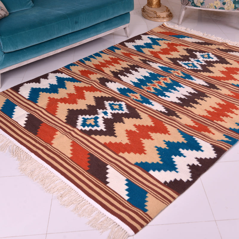 Moroccan Wool Kilim Rug - Multi-Color ZigZags