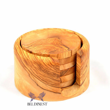 Wooden Coaster Set- Large Olive Wood Holder and 6 Coasters