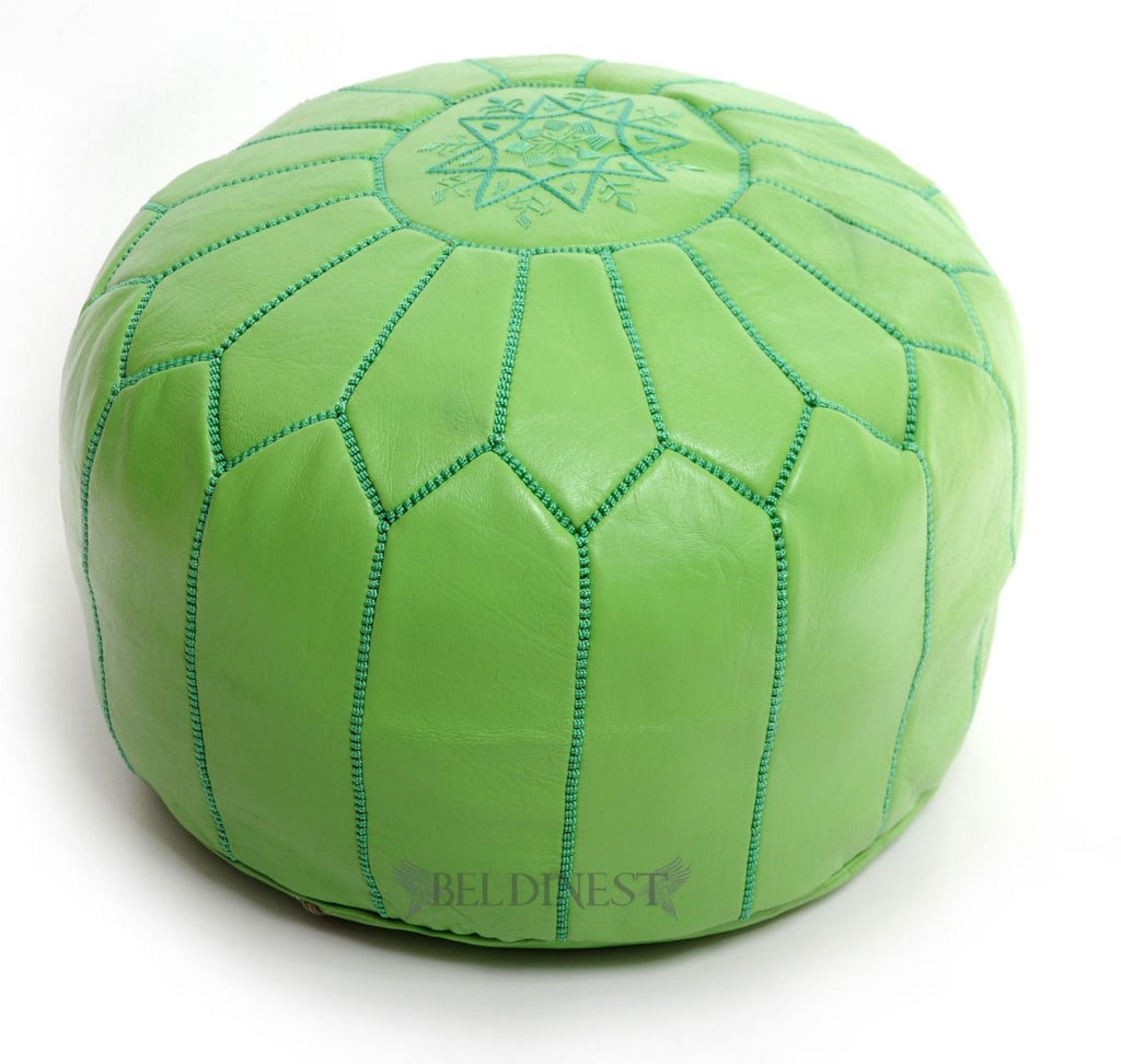 Embroidered Leather Pouf- Lime Green